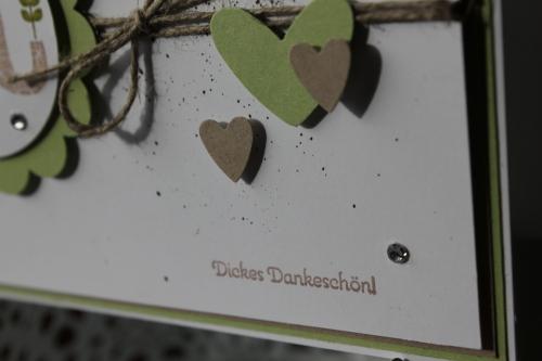 """Danksagungskarte \""""Dickes Dankeschön\"""", benutzt wurde Das Stempelset \""""Gemusterte Grüße\"""" und die \""""Herz an Herz\"""" Stanze, Bild4, gebastelt mit Produkten, Stempeln und Stanzen von Stampin\' Up!"""