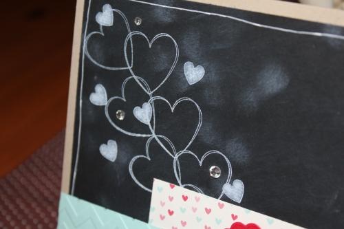 Grußkarte für Dich mit Chalkboard Technik mit dem Stempelset Hearts a Flutter, Bild3, mit Produkten, Stempeln und Stanzen von Stampin\' Up!