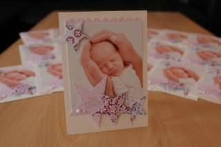 Danksagungskarte zur Geburt, gebastelt mit Produkten, Stempeln und Stanzen von Stampin\' Up!