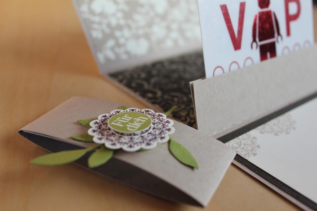 Gutscheinverpackung nah, gebastelt mit Produkten, Stempeln und Stanzen von Stampin' Up!