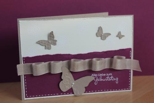 Grußkarte zum Geburtstag mit Schmetterlingen, gebastelt mit Produkten, Stempeln und Stanzen von Stampin\' Up!