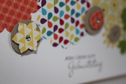 Grußkarte zum Geburtstag gebastelt mit verschiedenen Wellenkreisstanzen, gebastelt mit Produkten, Stempeln und Stanzen von Stampin\' Up!