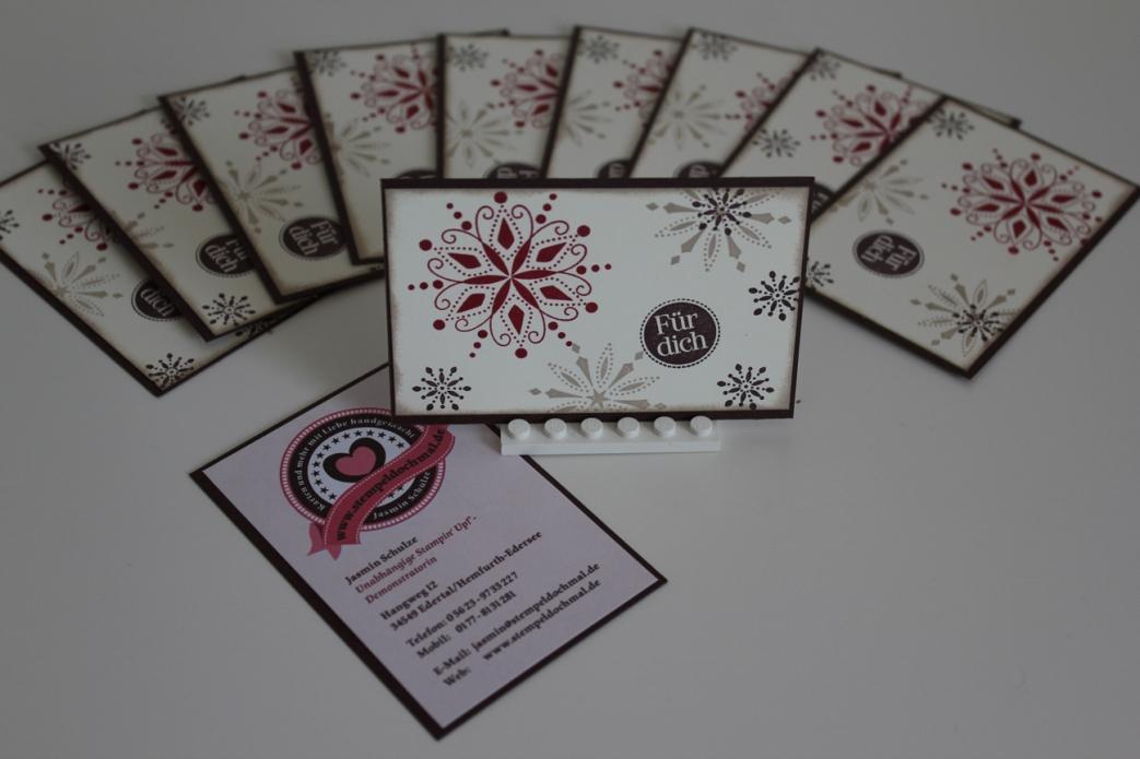 Visitenkarten aus dem Stempelset Snow Swirled, gebastelt mit Produkten, Stempeln und Stanzen von Stampin' Up!