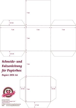 Schneide- und Falzanleitung für eine Geschenkbox aus Papier